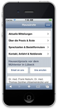 iPhone Version der Praxiswebseite Niebuhr Ruser Günther